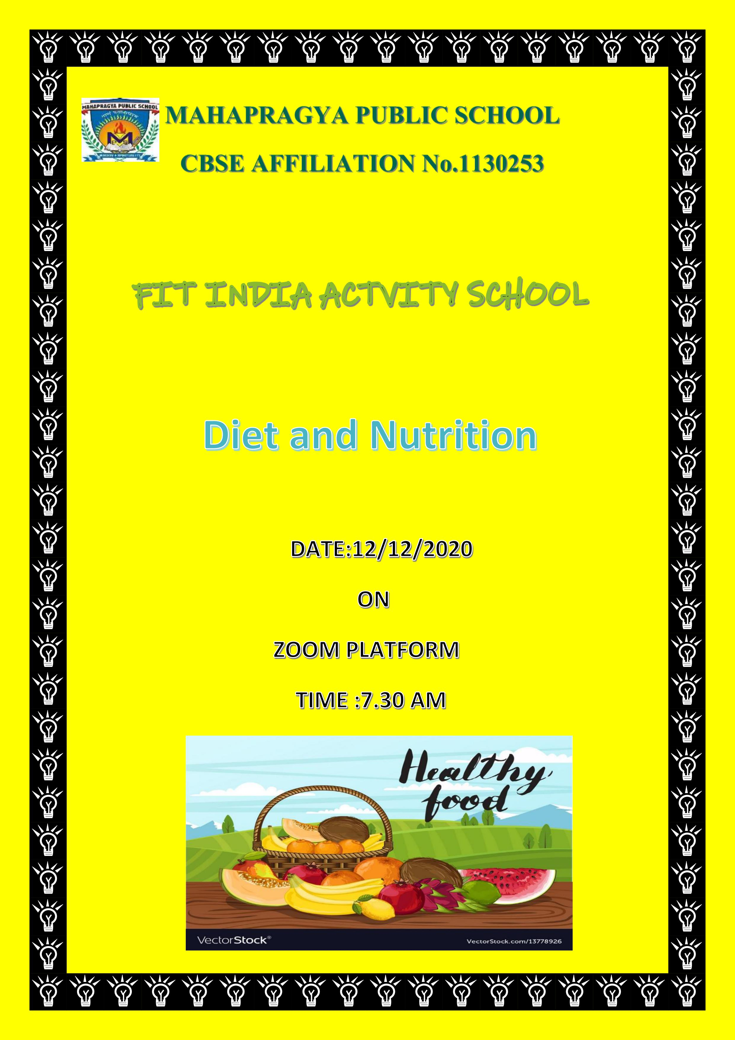 Virtual fit India – Diet and Nutrition